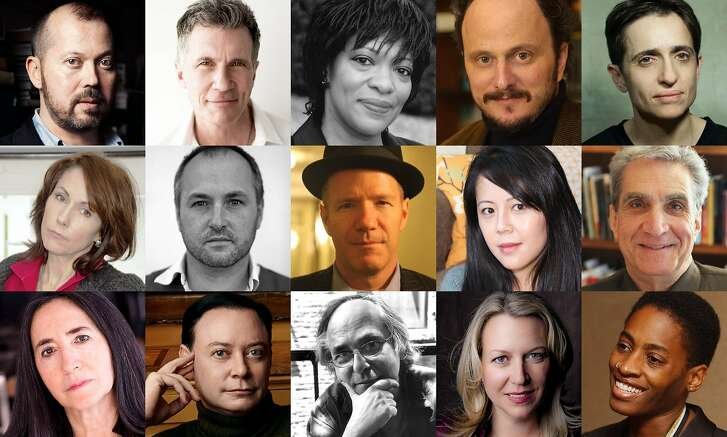 Authors expected to attend Writers Resist events on Jan. 15 include, from top left, Alexander Chee, Michael Cunningham, Rita Dove, Jeffrey Eugenides, Masha Gessen, Mary Karr, Colum McCann, Rick Moody, Beth Nguyen, Robert Pinsky, Francine Prose, Andrew Solomon, Art Spiegelman, Cheryl Strayed and Jacqueline Woodson.