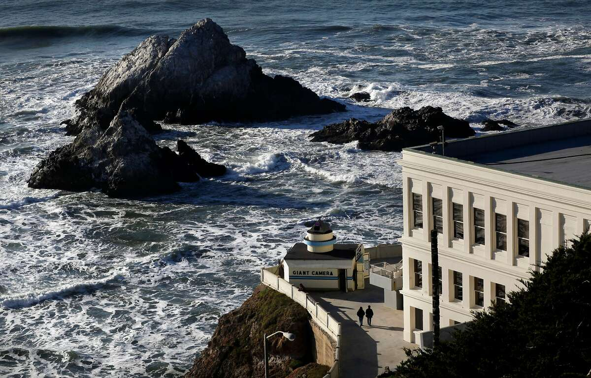 A minus tide can sometimes reveal the beach between San Francisco's Cliff House and Seal Rock (pictured). Visitors should be aware of tidal flows and be careful not to get trapped when tides return.