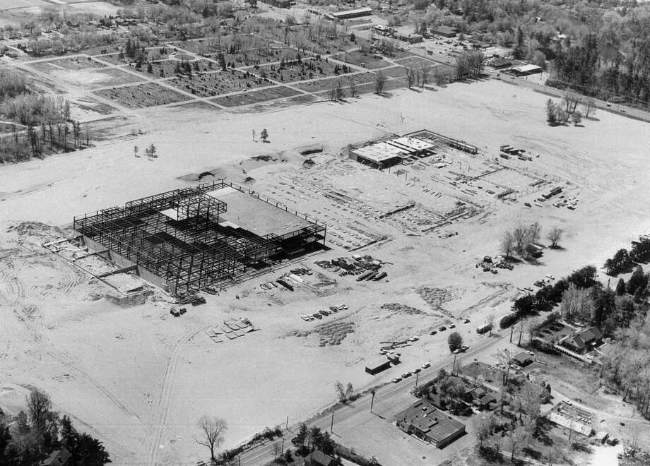 Click through the slideshow to view photos of Colonie Center from construction through today. Aerial photo showing the construction of Colonie Center, undated, Colonie, N.Y. (Courtesy Colonie Center)