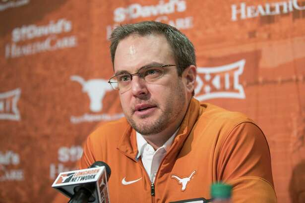 """Texas head coach Tom Herman speaks during a press conference, Thursday, Jan 5, 2017 in Austin, Texas. New Texas coach Tom Herman vigorously defended hiring former Ohio State assistant Tim Beck to be his offensive coordinator on Thursday, saying he was """"surprised"""" by some of the social media criticism from Longhorns and Ohio State fans.(Ricardo Brazziell/Austin American-Statesman via AP)"""