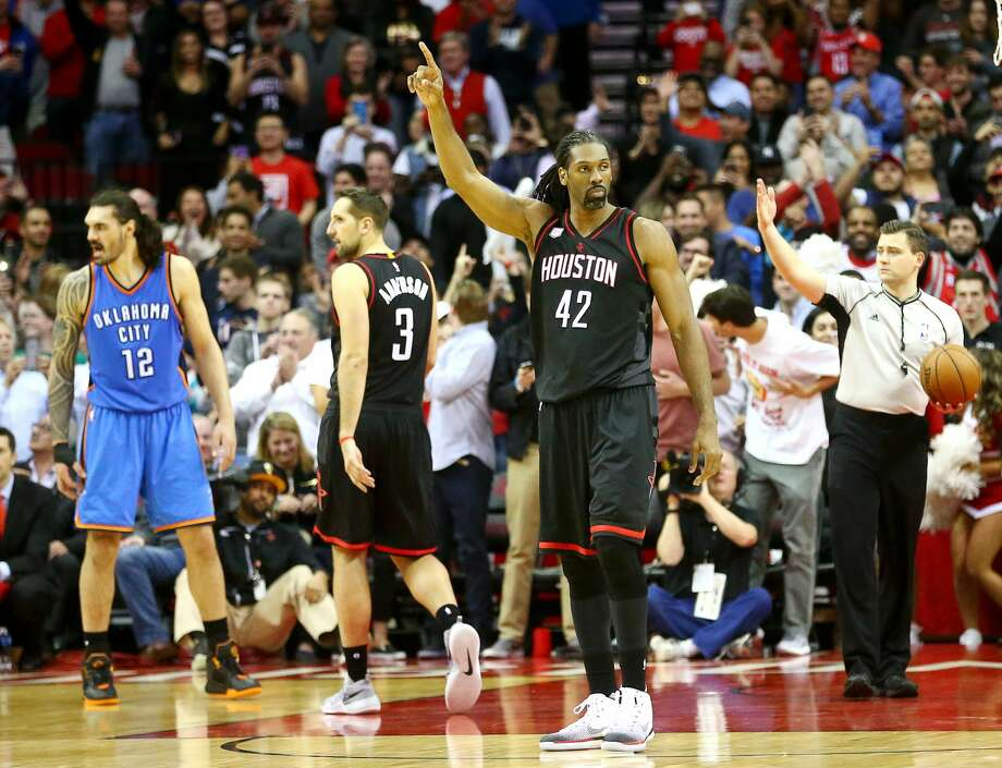 Houston Rockets center Nene Hilario (42) celebrates after making the game-winning freethrows during the fourth quarter of an NBA game at the Toyota Center, Thursday, Jan. 5, 2017, in Houston. ( Jon Shapley / Houston Chronicle ) Photo: Jon Shapley/Houston Chronicle