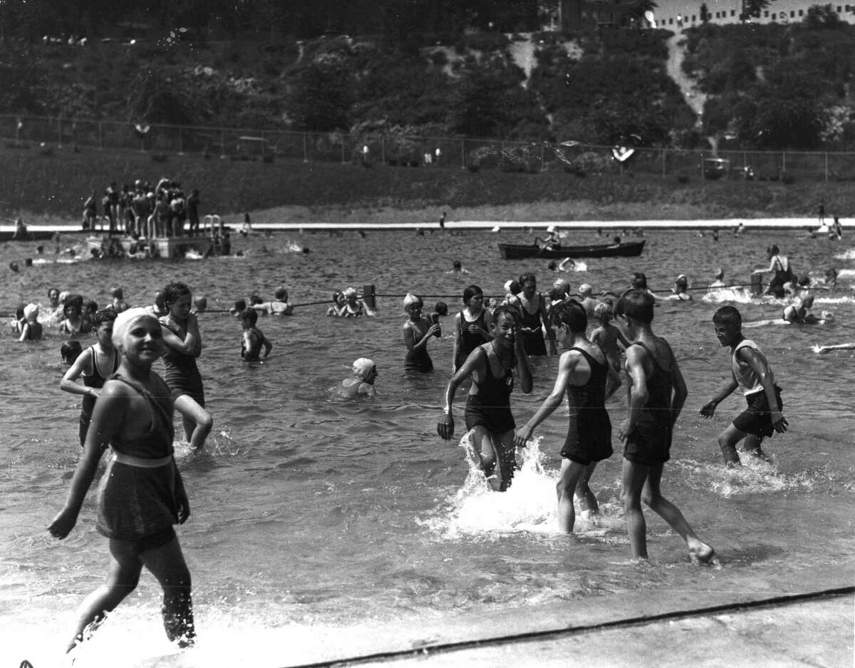 Opening day of Lincoln Park pool on July 4, 1931, in Albany, N.Y. (Times Union archive)