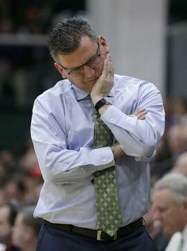San Francisco head coach Kyle Smith reacts during the first half of an NCAA college basketball game of his team against Gonzaga in San Francisco, Thursday, Jan. 5, 2017. (AP Photo/Jeff Chiu)