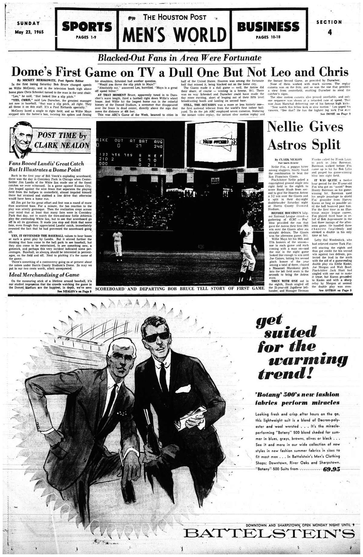Houston Post inside page: May 23, 1965 - section 4, page 1.