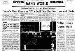 Houston Post inside page (HISTORIC) – May 23, 1965 - section 4, page 1. Dome's First Game on TV a Dull One But Not Leo and Chris