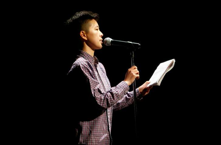 """Irene Tu performs during a haiku battle during """"Tourettes Without Regrets"""" in Oakland, Calif., on Thursday, January 5, 2017."""