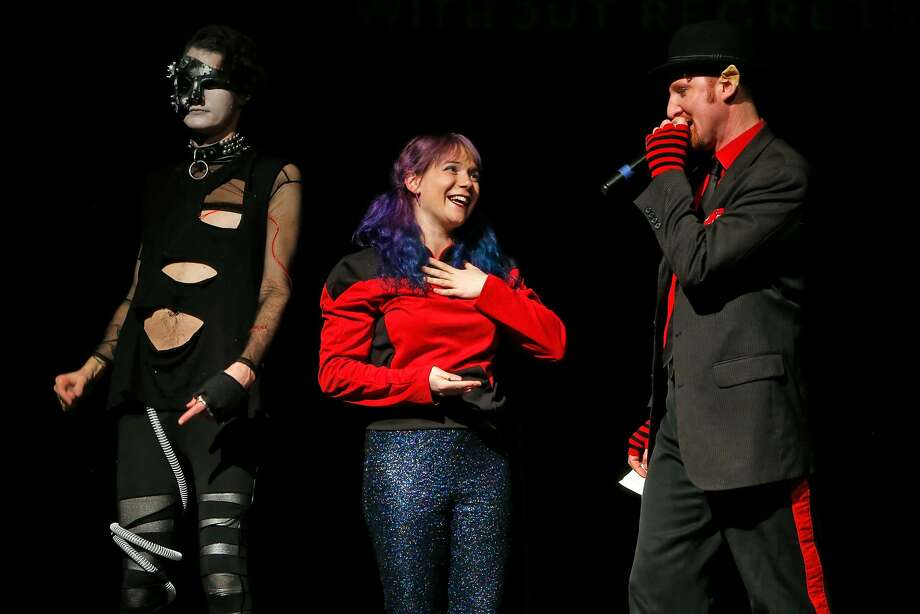 """""""Tourettes Without Regrets"""" host and creator Jamie DeWolf (right) with performer Rachel Lark and co-host Wonder Dave in Oakland, Calif., on Thursday, January 5, 2017. Photo: Scott Strazzante, The Chronicle"""