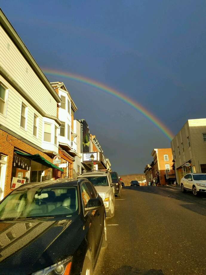 Double rainbow spotted over Bank Street in New Milford on Wednesday, Jan. 4, 2017. Photo: Laura Cartolano, Contributed
