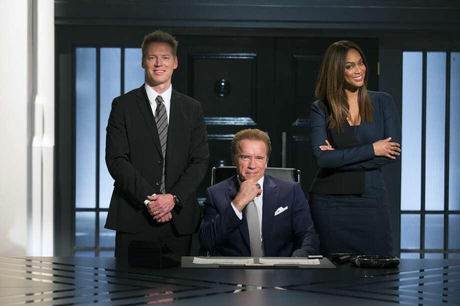"Patrick Knapp Schwarzenegger, Arnold Schwarzenegger and Tyra Banks in ""The New Celebrity Apprentice."" Photo: NBC/Luis Trinh/NBC"
