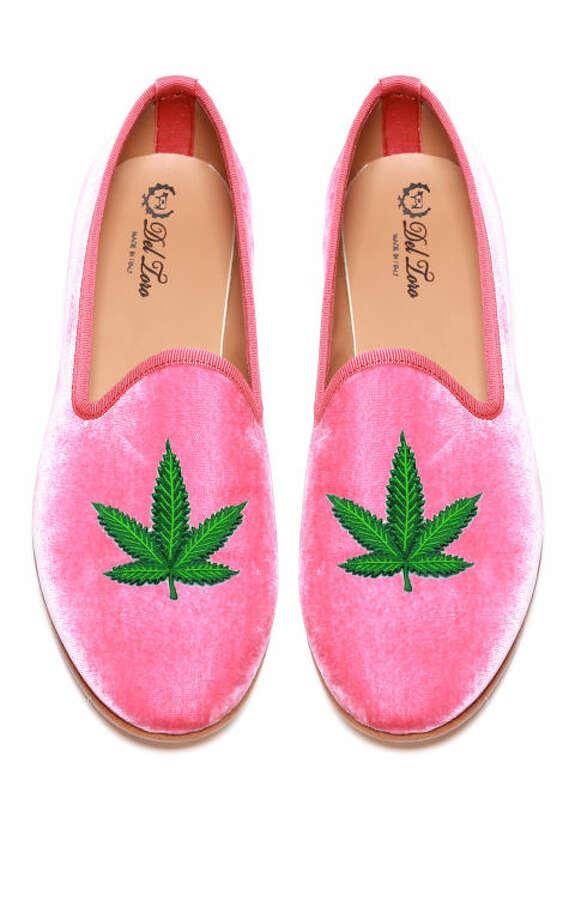 Del Toro Prince Albert Bubblegum Slipper Loafers with Cannabis Leaf, $340; modaoperandi.com Photo: Courtesy Photos