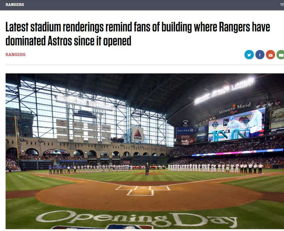 PHOTOS: Renderings of the Rangers ballpark releasedThis week we saw what the new Rangers ballpark might look like and we made some cute comments. The Dallas Morning News (above) decided to bite back.Click through to see what the new Rangers ballpark might look like... Photo: Dallas Morning News