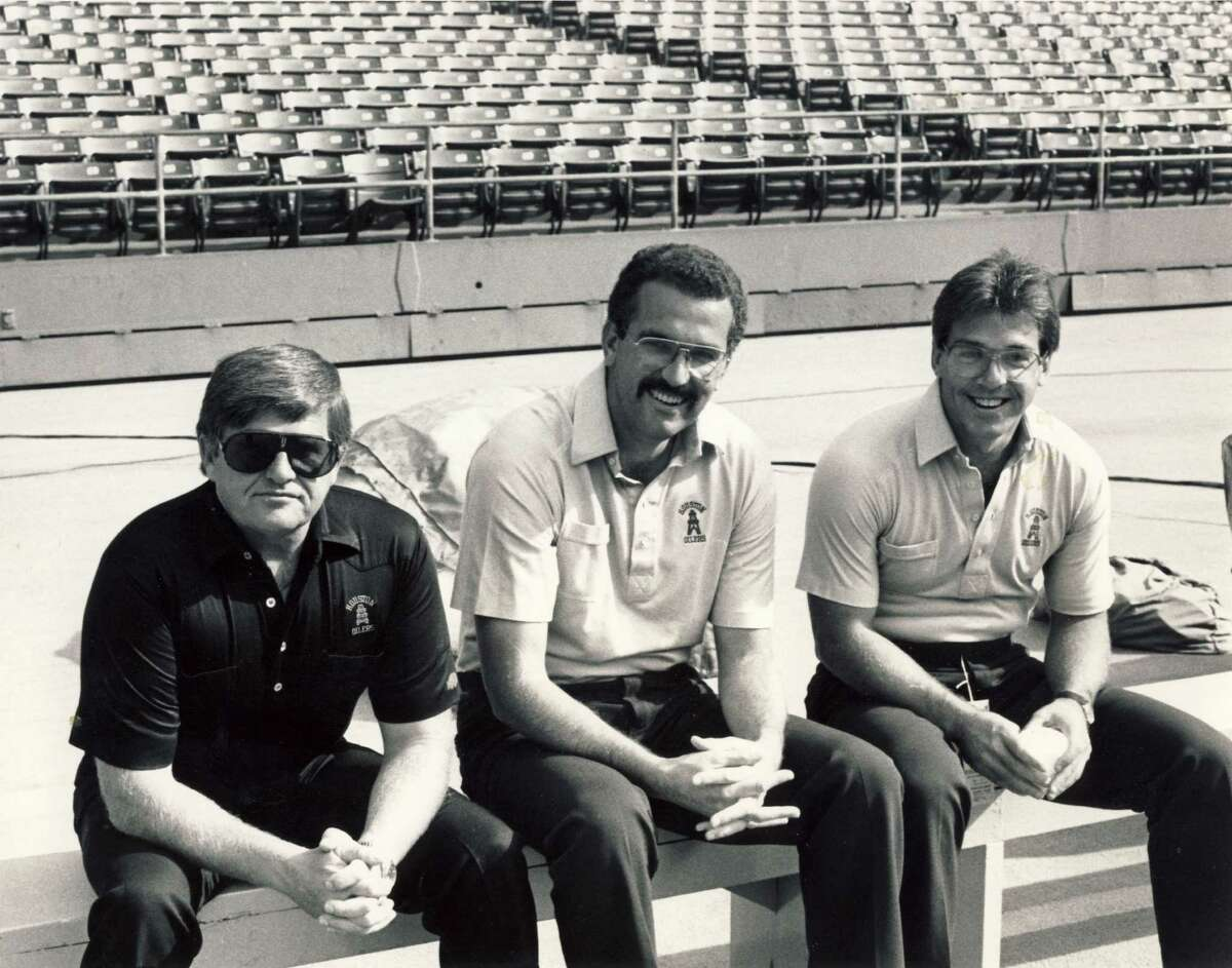 During 1988-89, Nick Saban, right, was on Jerry Glanville's Oilers staff. June Jones, center, was the quarterbacks coach.
