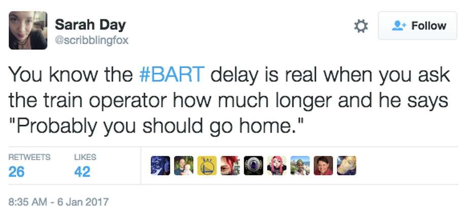 Many took to Twitter when they faced a major Bart delay on Jan. 6, 2017. Photo: Twitter Screen Grab