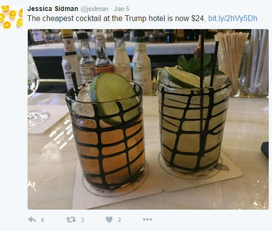 The cheapest cocktail at the Trump International Hotel Washington DC is $24, according to Washingtonian.com reporter Jessica Sidman, Jan. 5, 2017. Photo: Twitter/via @jsidman
