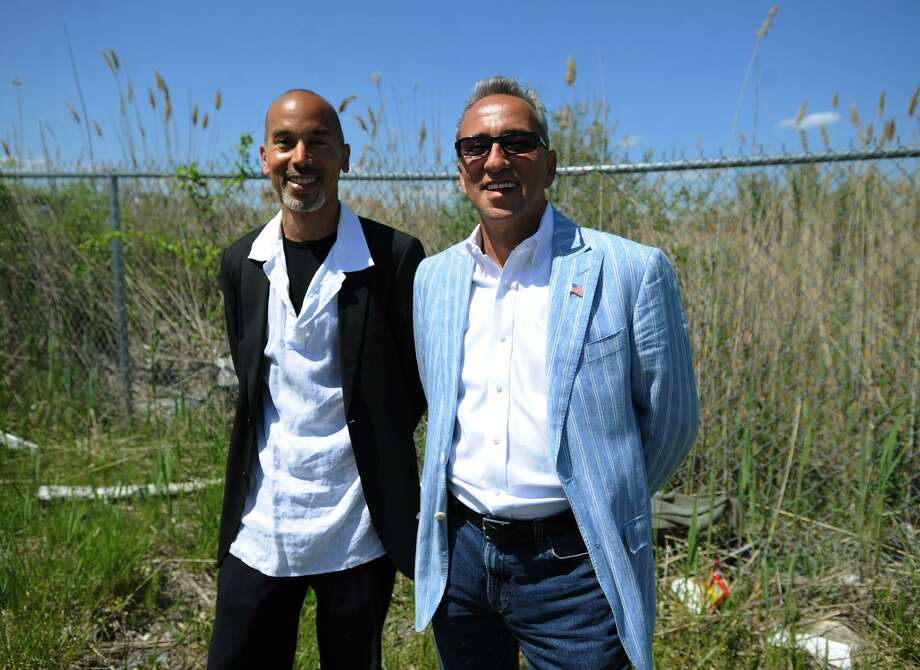 Sean Richardson, left, and Antonio St. Lorenzo, of Heroes Village, LLC, are planning the construction of a hydroponic greenhouse, retail space, and a community center, at the old Mount Trashmore site on Central Avenue in Bridgeport's East End. Photo: Brian A. Pounds / Hearst Connecticut Media File / Connecticut Post