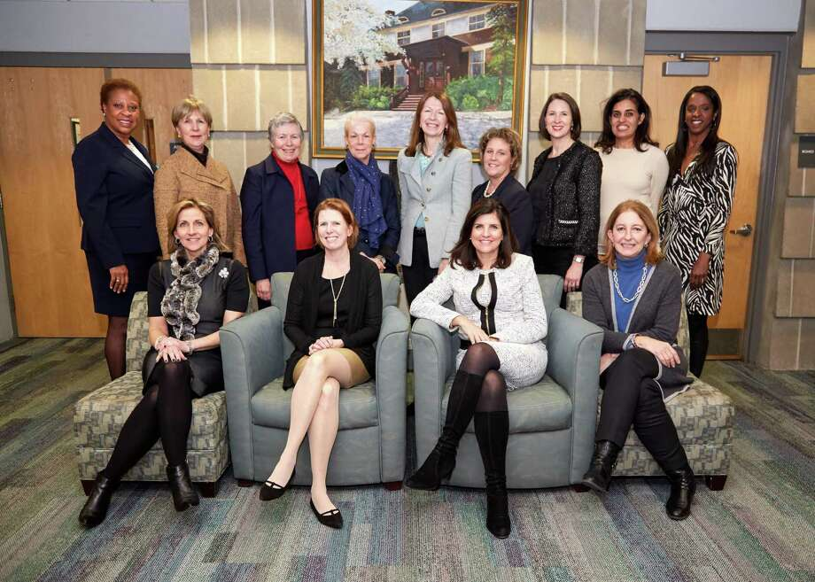 The YWCA Greenwich announced its 2017 Brava Award nominees on January 6, 2017. Standing from left:  Romelle Jones Maloney, Ruth Fattori, Anne A. Brewer, Cyndi Koppelman, Mary Lee A. Kiernan, Denise C. Doria, Pepper Anderson, Nisha Kumar Behringer and Stacey Tisdale. Seated are the co-chairs of the Brava Awards (from left): Randi Nielsen, Mimi Duff, Melissa Turner, and Jennifer D. Port. Photo: Contributed