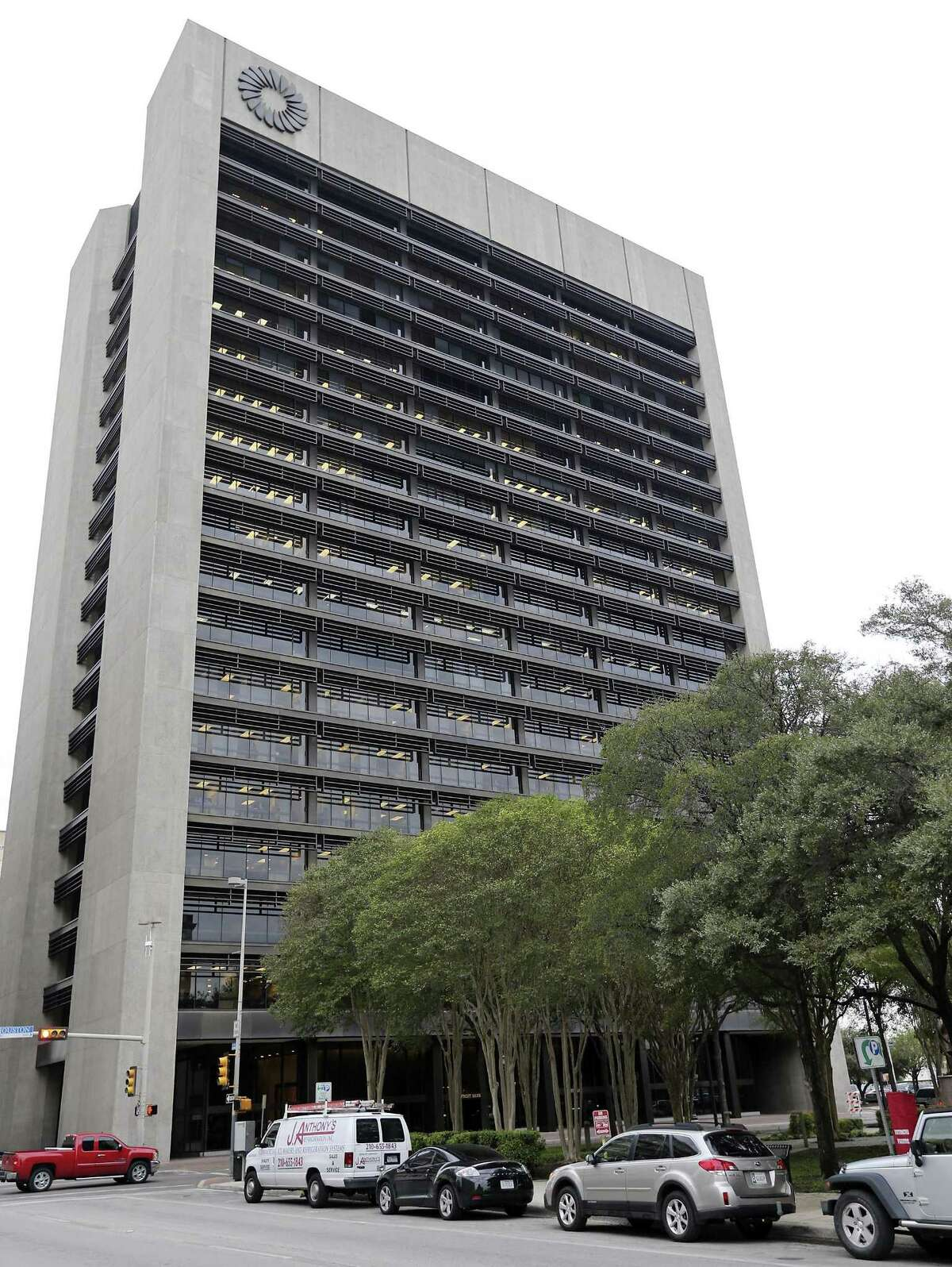 A view of the Frost Bank Tower in downtown San Antonio.