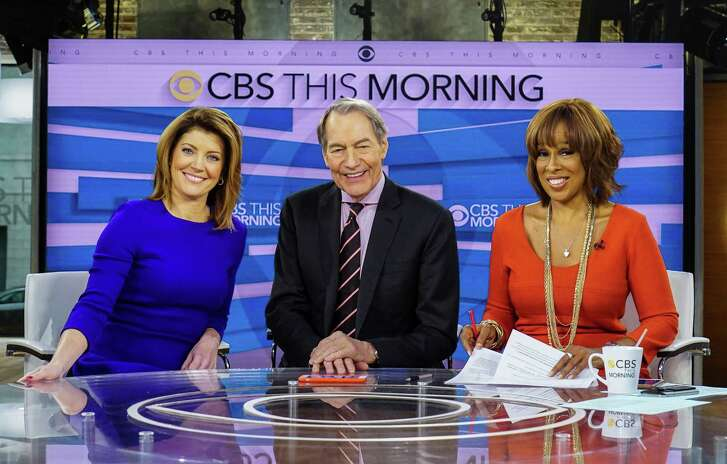 """Norah O'Donnell, from left, Charlie Rose and Gayle King on the set of """"CBS This Morning,"""" in New York."""