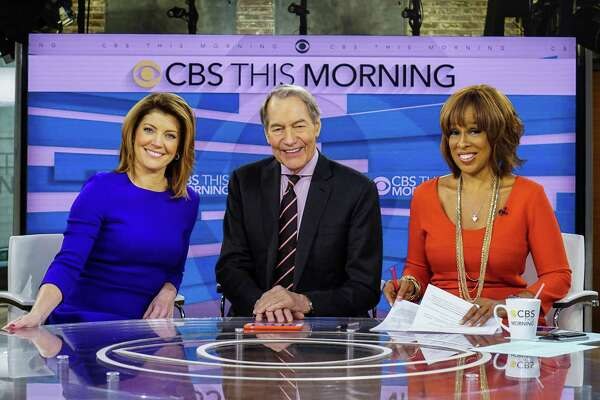"Norah O'Donnell, from left, Charlie Rose and Gayle King on the set of ""CBS This Morning,"" in New York."