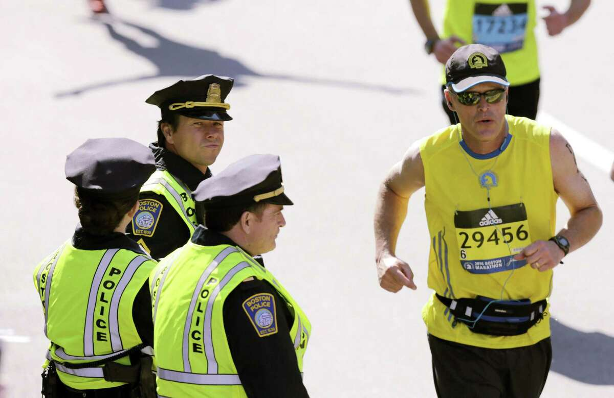 Whalberg's cop is assigned to cover the finish line of the Boston Marathon.