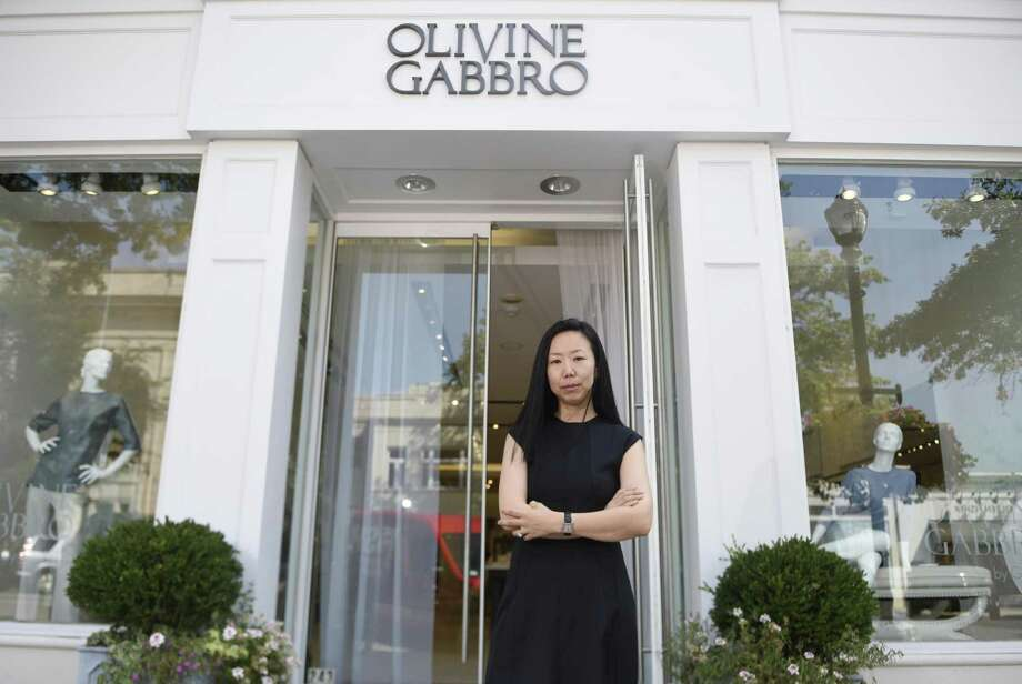 Fashion Designer Grace Kang poses outside Olivine Gabbro in Greenwich, Conn. Thursday, Sept. 8, 2016. Photo: Tyler Sizemore / Hearst Connecticut Media / Greenwich Time