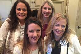 Junior League luncheon: Anita Gamertsfelder, from back left, and Cari Chaplin, and Katie Marcum, from front left, Anne Mouton