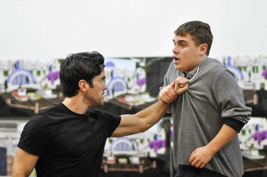 "Ryan-James Hatanaka and Matthew Macca rehearse a scene for ""The Comedy of Errors"" at Hartford Stage. The show runs Thursday, Jan. 12, through Sunday, Feb. 12. Photo: Liss Couch-Edwards / Contributed Photo"