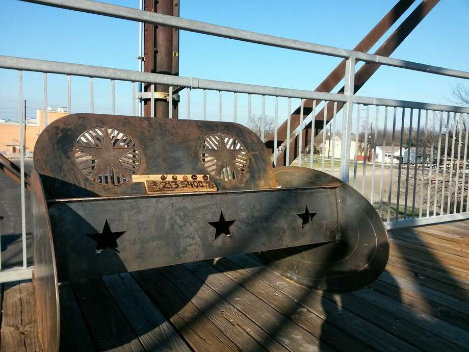 Carlos Alvarez aka Carlos the Carpenter said he placed a steel bench on the Hays Street Bridge on New Year's Eve. Photo: Photo Courtesy Carlos Alvarez