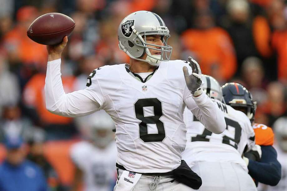 DENVER, CO - JANUARY 1:  Quarterback Connor Cook #8 of the Oakland Raiders throws in the second quarter of the game against the Denver Broncos at Sports Authority Field at Mile High on January 1, 2017 in Denver, Colorado. (Photo by Justin Edmonds/Getty Images) Photo: Justin Edmonds, Stringer / 2017 Getty Images