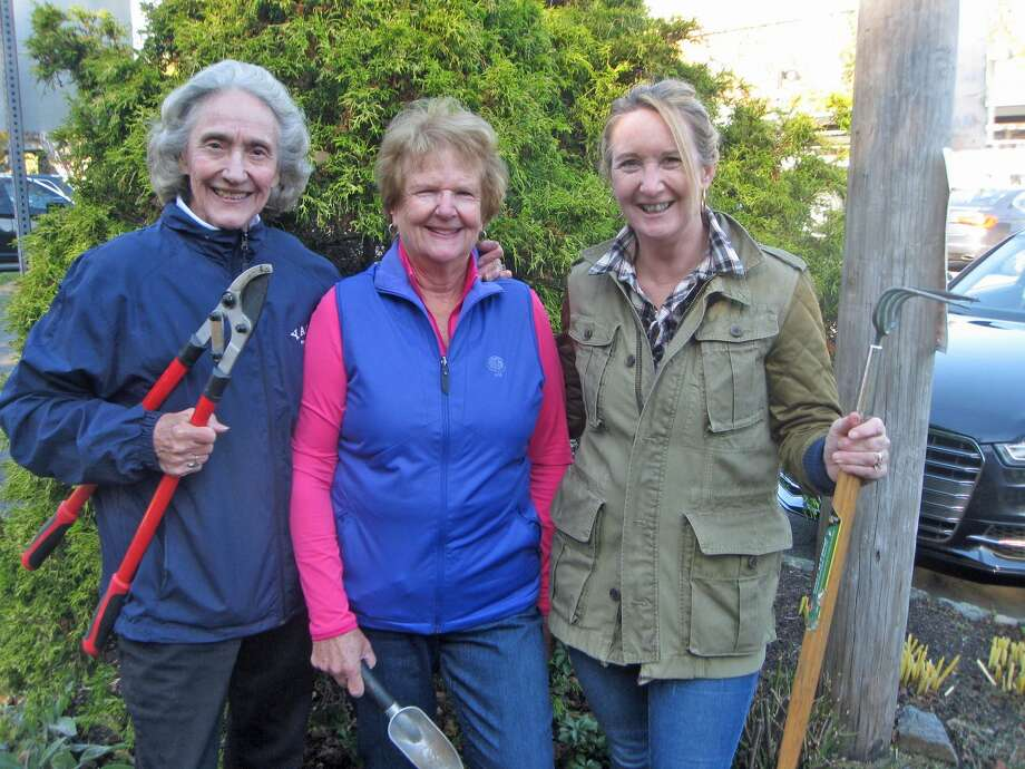 Members of the Riverside Garden Club doing cleanup at the Riverside Train Station. From left are, Betty Bonsal, Madeleine DeVries and club president Gabi Crouchley. Photo: Contributed
