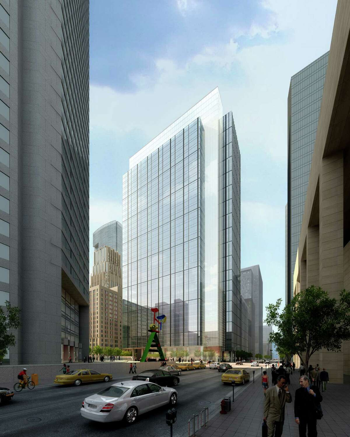 Skanska USA Commercial Development plans to put up a 35-story office tower on the Houston Club site. Bank of America now leases 423,614 square feet in the Bank of America Center.