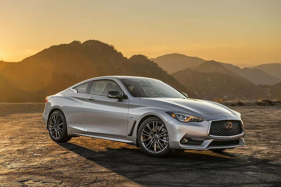 The Infiniti Q60, available with either a 2.0-liter, 4-cylinder turbo or 3.0 liter V-6 twin turbo (300 or 400 horsepower depending on trim), can exceed 120 mph. Shown is a 2017 model.