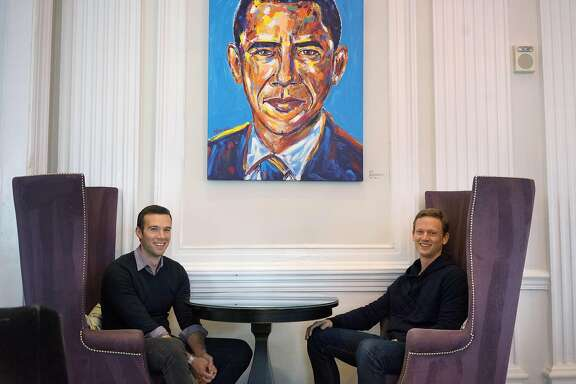 "Together the voice behind the popular snarky partisan podcast called ""Keepin' it 1600,"" President Obama's long time speech writer, Jon Favreau, left,  and Obama White House veteran, Tommy Vietor, sit in the lobby of the W Hotel on Friday January 6, 2017 in Washington D.C. The two, with the help of another entrepreneur Jon Lovett (not shown), are leaving their West Coast consulting jobs to bootstrap a new media company they are calling ""Crooked Media."" Their new podcast dubbed ""Pod Save America"" debuts Monday."