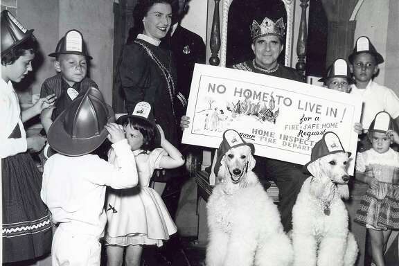 This 1950 showing Doris Rosenberg as Page Joy on the King Norman Television Show ( with her husband, Norman in the crown) surrounded by a bunch of kids in the studio.  Rosenberg Family / Courtesy to The Chronicle