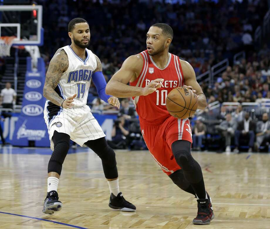 Houston Rockets' Eric Gordon (10) drives around Orlando Magic's D.J. Augustin (14) during the first half of an NBA basketball game, Friday, Jan. 6, 2017, in Orlando, Fla. (AP Photo/John Raoux) Photo: John Raoux/Associated Press