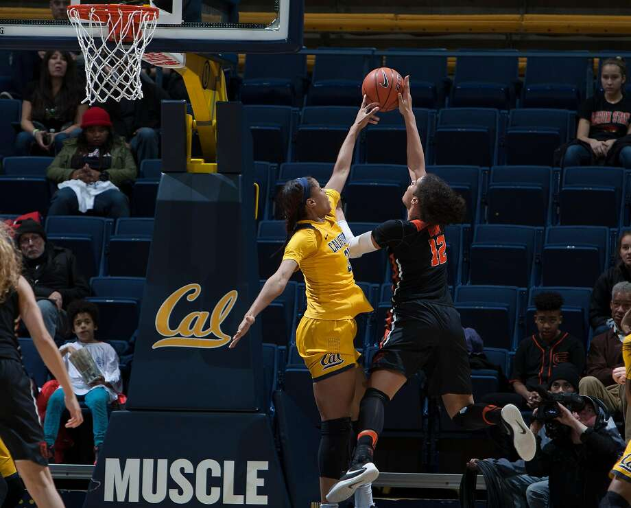 Cal's Kristine Anigwe blocks a shot by Oregon States Cobie Orum during the Cal Berkeley vs Oregon State game at Hass Pavillion in Berkeley CA Friday, January 6, 2017 Photo: ISI Photos