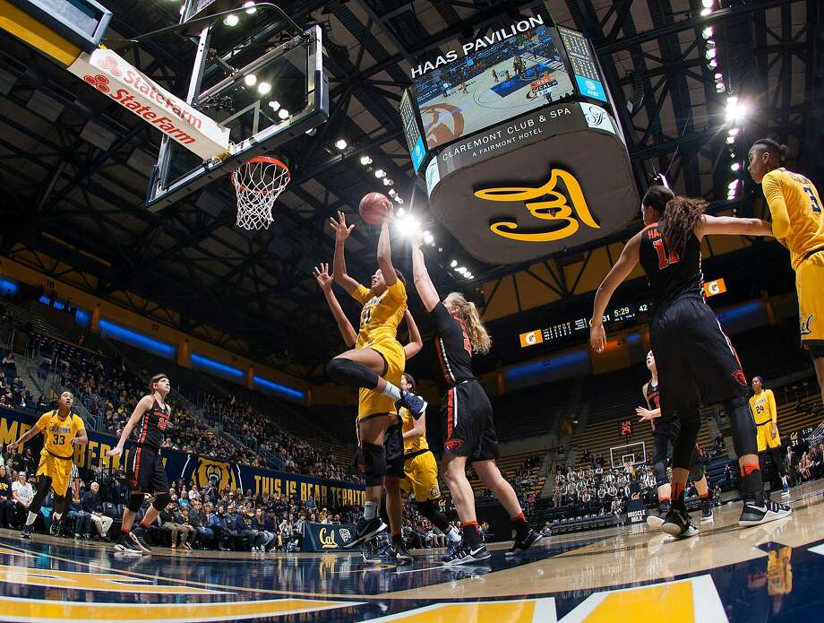 Cal's Kristine Anigwe goes up for a shot during the Cal Berkeley vs Oregon State game at Hass Pavillion in Berkeley CA Friday, January 6, 2017 Photo: ISI Photos