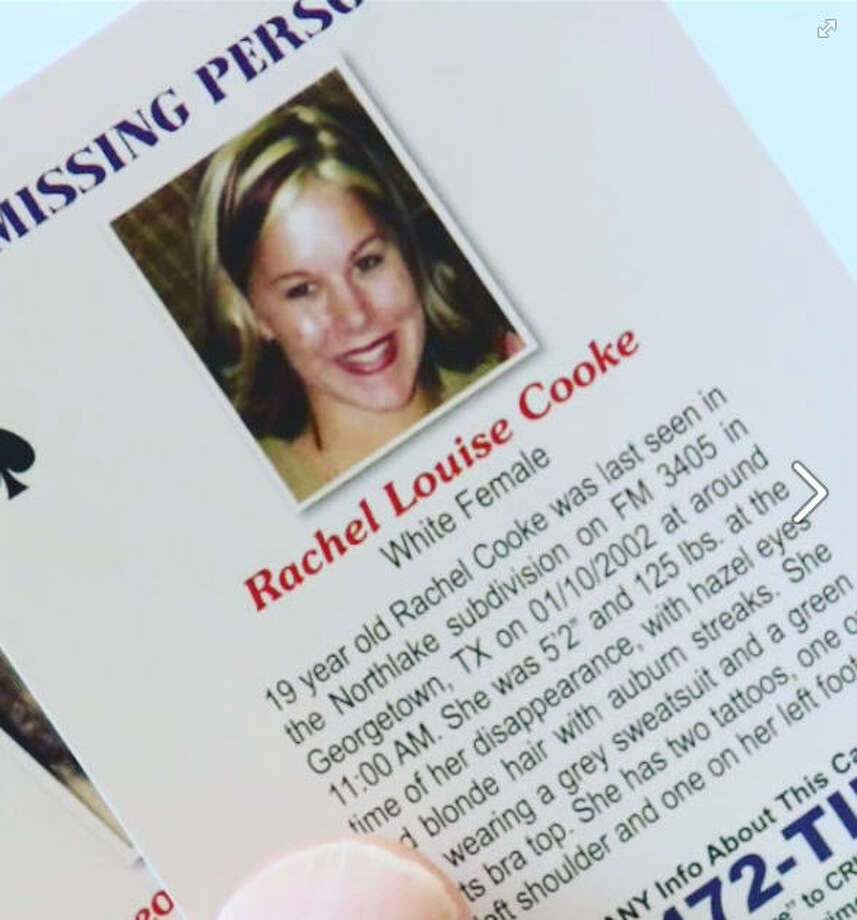 A Georgetown woman went for a jog 15 years ago. Rachel Cooke hasn't been seen since.Rachel Cooke left her Williamson County, Texas home for a jog on Jan. 10, 2002. She vanished. Investigators still get tips about the case, but Cooke hasn't been found. Her case was included in a batch of playing cards featuring unsolved cases and distributed to inmates in Texas prisons. Photo: Facebook