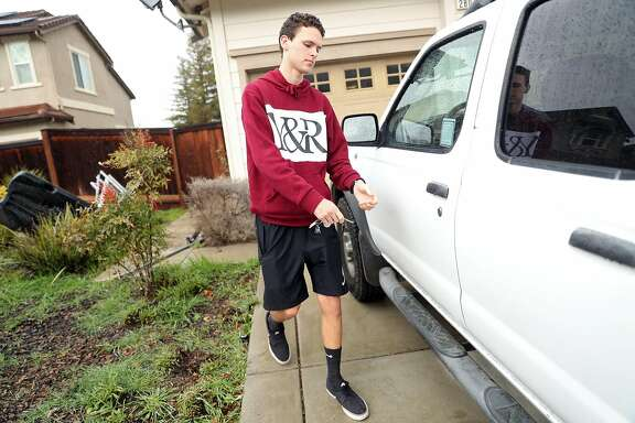 17-year-old Aidan Dunn drives himself to the gym to work out in Brentwood, Calif., on Saturday, January 7, 2017.