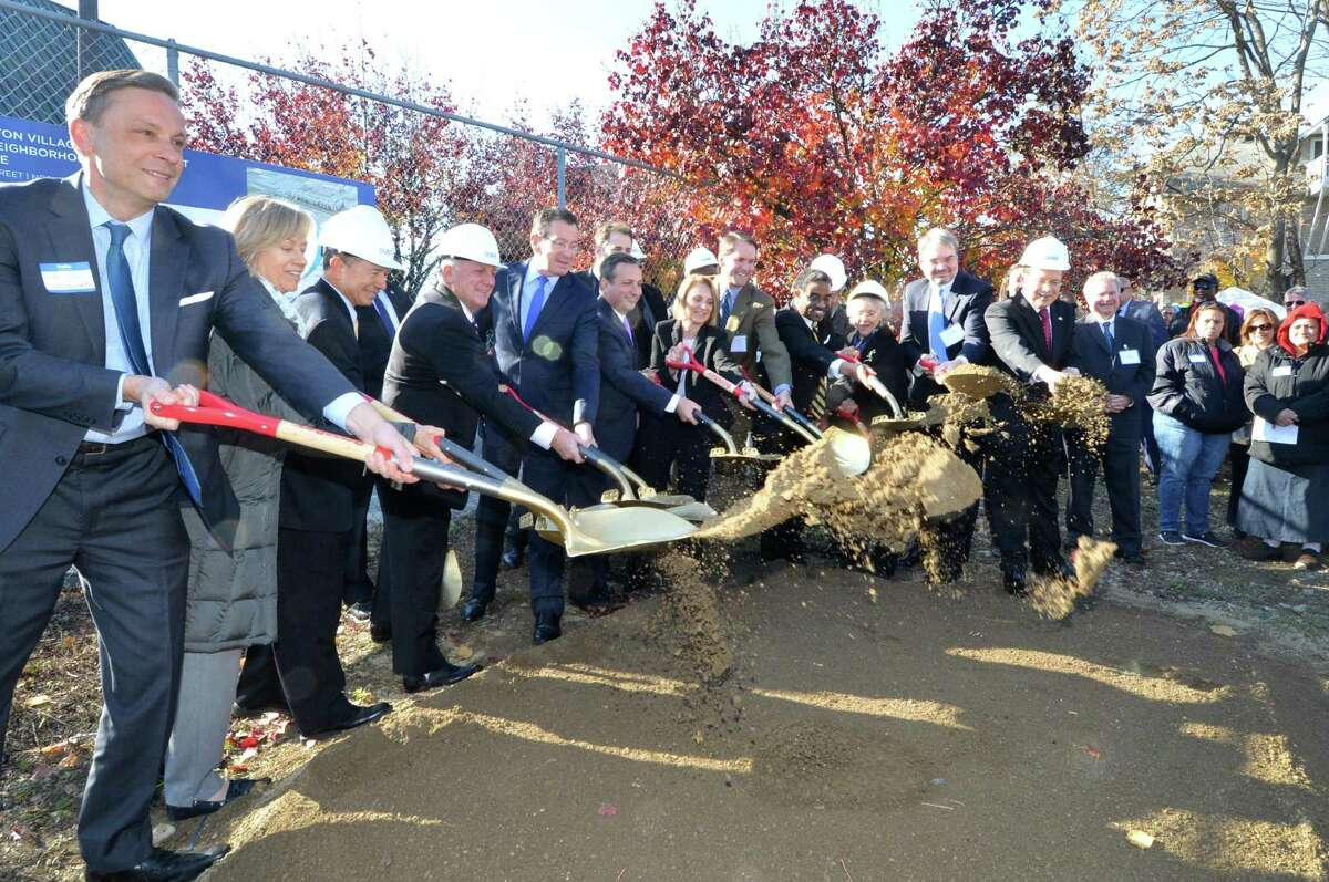 City, state, federal and civic leaders, including Governor Dan Malloy and Norwalk Mayor Harry Rilling put shovels in the ground at the Choice Neighborhood Phase 1 Groundbreaking Ceremony for the Washington Village housing complex reconstruction, on Monday November 28, 2016 in Norwalk Conn.