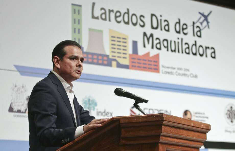 In this file photo, Nuevo Laredo Mayor Enrique Rivas addresses the audience during the Laredos Dia de la Maquiladora event at the Laredo Country Club. Photo: Victor Strife /Laredo Morning Times