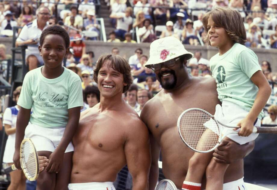 Arnold Schwarzenegger and Rosey Grier attend Sixth Annual Robert F. Kennedy Celebrity Tennis Tournament on August 27, 1977 at Forest Hills Stadium in New York City. (Photo by Ron Galella/WireImage) Photo: Ron Galella, WireImage