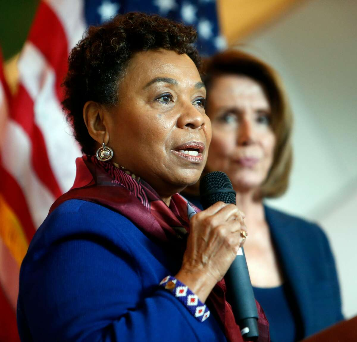 Congresswoman Barbara Lee introduces fellow Congresswoman Nancy Pelosi during press conference, on the harmful effect of the possible repeal of the Affordable Care Act, at Zuckerberg San Francisco General Hospital in San Francisco, Calif., on Saturday, January 7, 2017.
