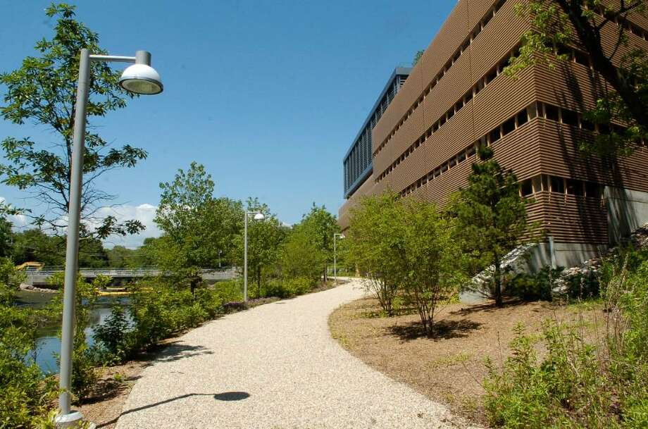 One of the City of Stamford, Conn.'s secret public spaces is at RBS along the Mill River. Photo: Dru Nadler / Stamford Advocate