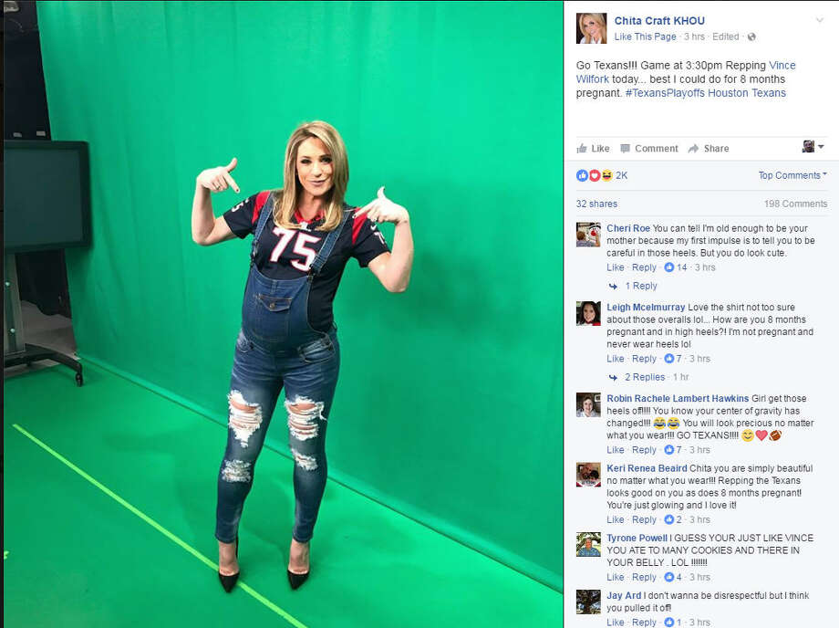 KHOU meteorologist Chita Craft does her best Vince Wilfork impression.KHOU meteorologist Chita Craft had a little fun with the Houston Texans' playoff game Saturday. Craft, who is 8-months pregnant, donned a Vince Wilfork jersey and posted to Facebook that she was doing her best impression of the defensive lineman, which is what she could pull off given the advanced state of her pregnancy. Photo: Facebook