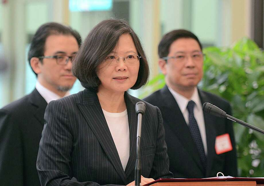 Taiwan's President Tsai Ing-wen delivers a speech before traveling to visit Central American allies including a U.S. transit, Saturday, Jan. 7, 2017, at the Taoyuan International Airport in Taouyuan, Taiwan. Tsai pledged to bolster Taiwan's presence on the international stage on her visit four Central American allies on a trip that includes U.S. transits and looks set to raise China's ire. (Central News Agency via AP) Photo: SUB / Central News Agency
