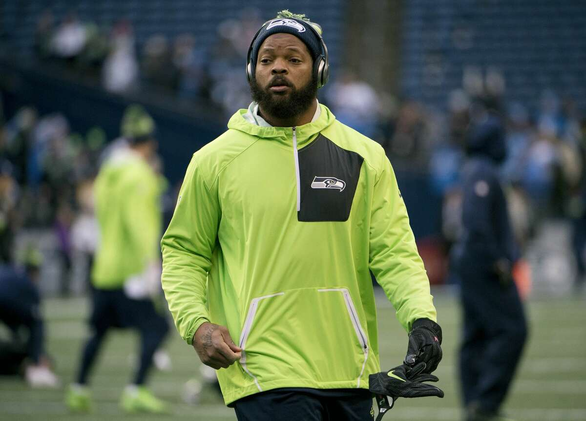 Seahawks defensive end Michael Bennett before playing against the Detroit Lions in the NFC wild card playoff football game at CenturyLink Field.