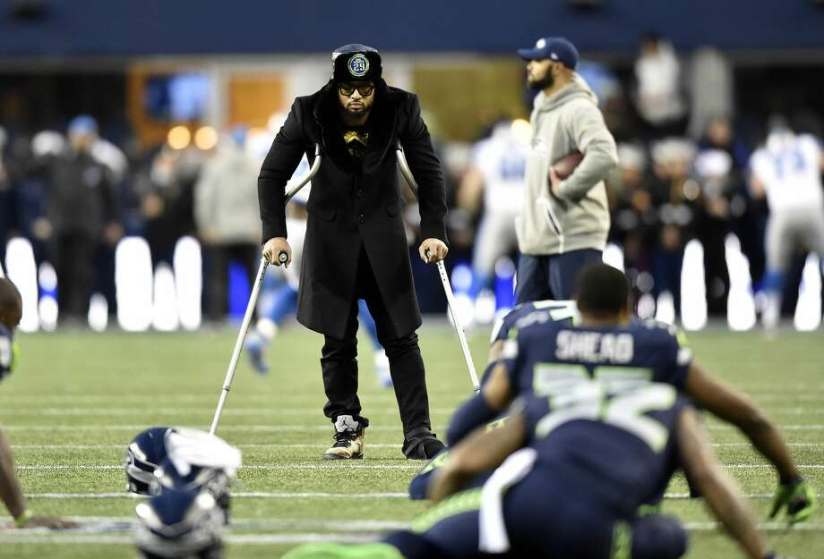 Seahawks safety Earl Thomas watches warmups before the Seahawks play against the Detroit Lions in the NFC wild card playoff football game at CenturyLink Field. Photo: Steven Bisig/USA Today Sports