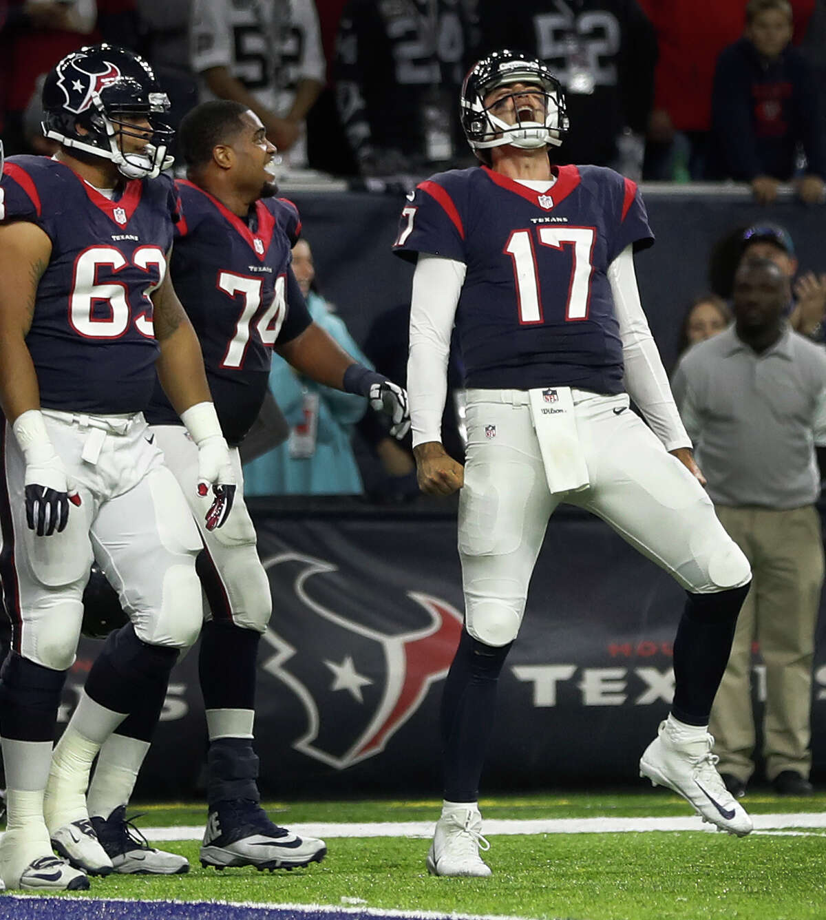 JOHN McCLAIN'S GRADES FOR PLAYOFF WIN OVER THE RAIDERS Quarterback Brock Osweiler returned to the lineup and threw one touchdown pass and ran for another for the second game in a row. He didn't turn it over for the second consecutive game and finished with a 90.1 rating. Grade: B
