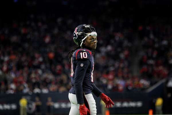 Houston Texans wide receiver DeAndre Hopkins (10) is seen during the second quarter of an AFC Wild Card Playoff game at NRG Stadium Saturday, Jan. 7, 2017, in Houston.